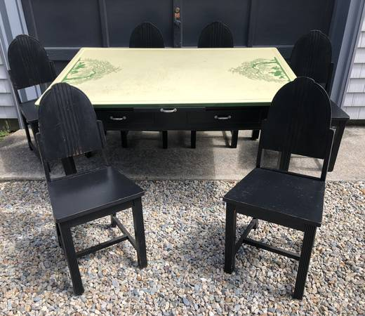 Vintage Farmers Enamel Top Dining Room Table 6 Wooden Chairs 550 East Wareham Furniture For Sale South Coast Ma Shoppok
