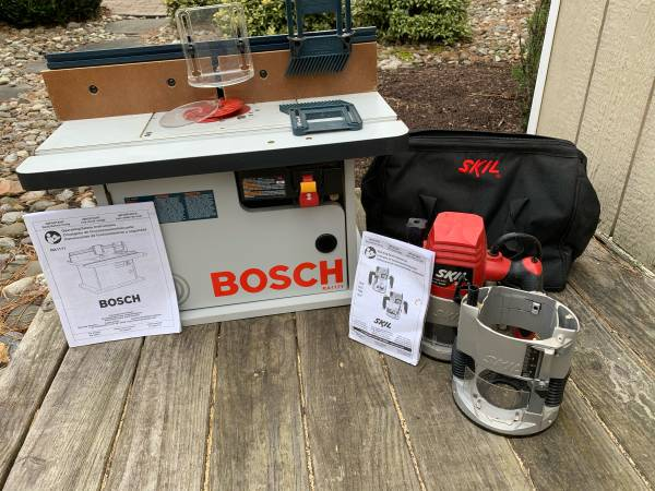 Photo Bosch RA1171 router table and Skill 1825 router - $125 (Medford)