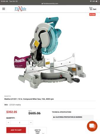Photo Makita LS1221  12 in. Compound Miter Saw, 15A, 4000 rpm (Deptford)