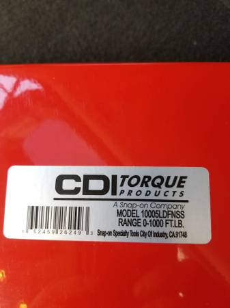 Photo Snap on Tools CDI 1 inch Dr. 1000 ft lb Torque Wrench - $300 (Mt Laurel)