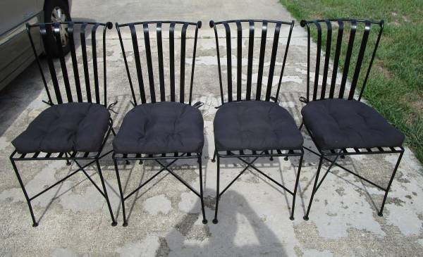 Photo 4 Pier One Imports Wrought Iron IndoorOutdoor Chairs with Cushions - $135 (Port St. John, FL)