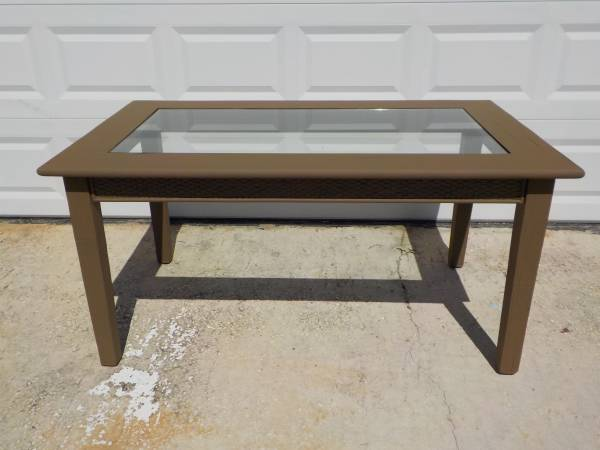 Photo gorgeous wood patio dining table - glass top insert - fits 6 chairs - $25 (Satellite Beach)