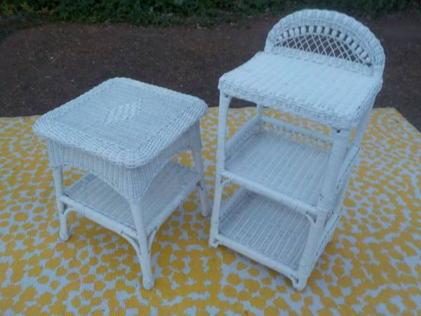 Photo 2 Pieces of White Wicker - $70 for the 2 - $70 (Cheney)