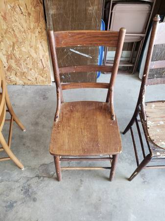 Photo 2 Vintage Solid Wood Kitchen Style Chairs  1 Wood Stool - $5 (Springfield)