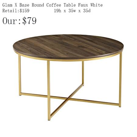 Photo Glam X Base Round Coffee Table Faux White - $79 (1344 E. Sunshine , Springfield)