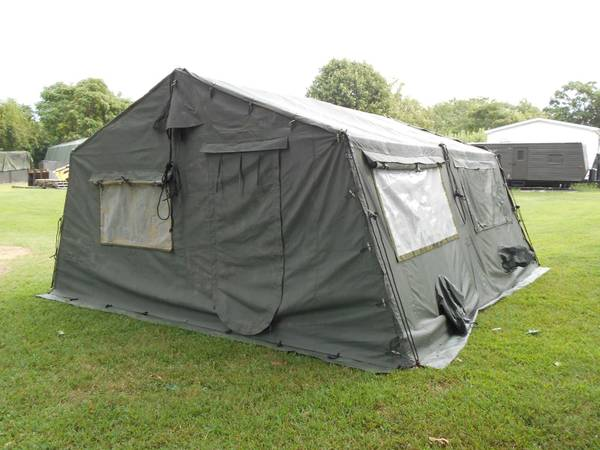 Photo MILITARY 16x16 FRAME TENT CAMPING HUNTING ARMY VINYL CANVAS STOVE JACK - $1095 (NORTH SPRINGFIELD)
