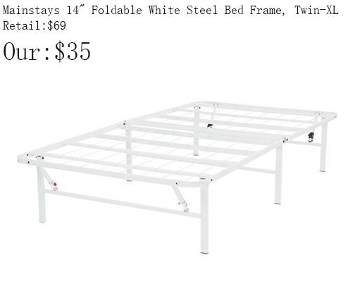Photo Mainstays 14quot High Profile Foldable White Steel Bed Frame, Twin-XL - $35 (1344 E. Sunshine , Springfield)