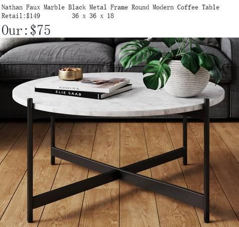 Photo New Nathan White Faux Marble Black Metal Frame Round Coffee Table - $75 (1344 E. Sunshine , Springfield)
