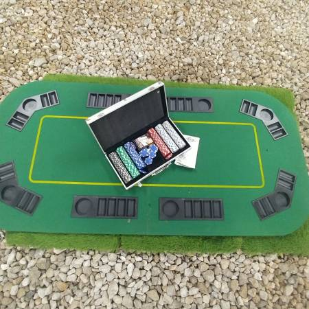 Photo Poker Table Top, Chip Set, and Book - $80 (Nixa)