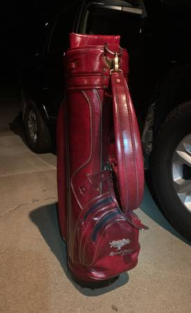 Photo Vintage almost new burton leather golf bag with leather rain hood - $40 (Springfield)