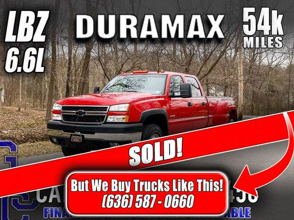 Photo SOLD 2006 Chevrolet Silverado LBZ Duramax 3500 LT 4x4 1-Owner 54k Mile - $34,800 (Eureka, MO)