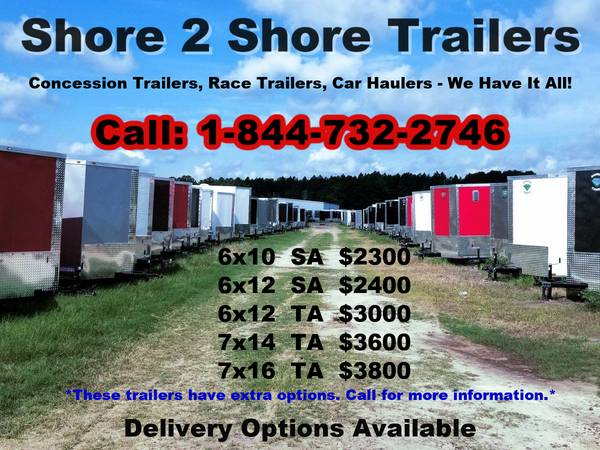 Photo 7x16 6x12 7x14 8.5 Wide Car Trailer Enclosed Cargo Trailers concession (Douglas)