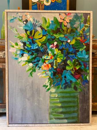 Photo Large Floral Vase Painting with Wood Frame Pier One - $50 (Saint Augustine)