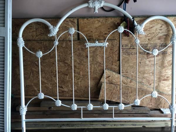 Photo full size cast iron headboard - $100 (Saint Augustine)