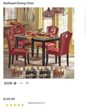 Photo 1 Red  Brass Buttoned Nailhead Chair Retails $129 - $25 (Avon)
