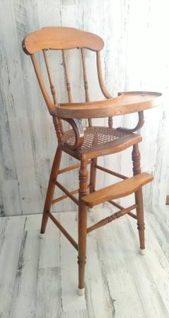 Photo Vintage Caned Seat High Chair Antique Baby Furniture - $40 (Litchfield)