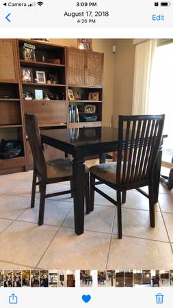Photo Pier One Dining table  2 chairs - $200 (Mesquite)