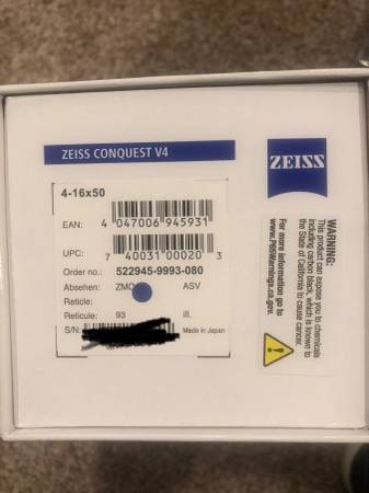 Photo Zeiss Conquest V4 4-16x50 ZMOA-1 Illuminated Reticle - $925