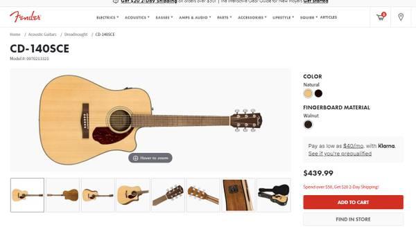 Photo Fender CD-140SCE Guitar with Electronics - $250 (Saint Joseph)