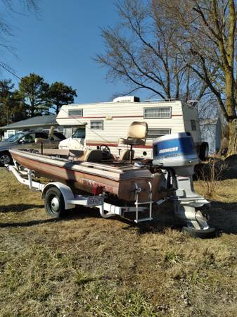 Photo 1978 16 ft bass boat, 78 trailer,and 86 outboard motor - $2,500 (Hawk point)