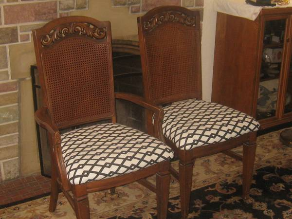Photo 2 VINTAGE ANTIQUE CANE BACK DINING ROOM CHAIRS - $40 (BRENTWOOD)