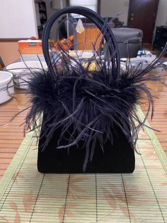 Photo BLACK VELVET AND FEATHERS PURSE - $5 (Charlack Missouri)