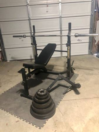 Photo Bench press and squat rack with 300lb weight set and weight tree - $325 (Saint Peters)