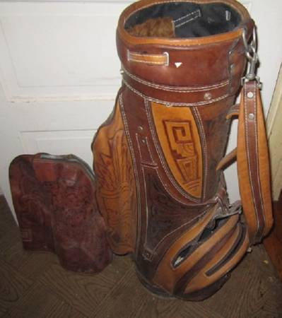 Photo Very Nice Hand Tooled Leather Golf Bag - $125 (Webster Groves)