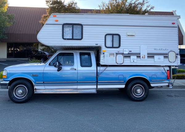 Photo 1993 Ford F-250 Extra Cab Long Bed With A Cabover Weekender RV - $11,500 (Livermore, ca)