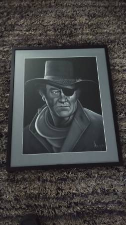 Photo John Wayne Black Velvet Signed Painting - $125 (lodi)