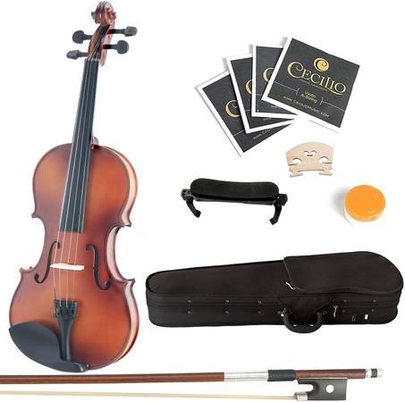 Photo Mendini MV300 Violin with Hard Case, Bow, Rosin and Extra Strings - $65 (Stockton)