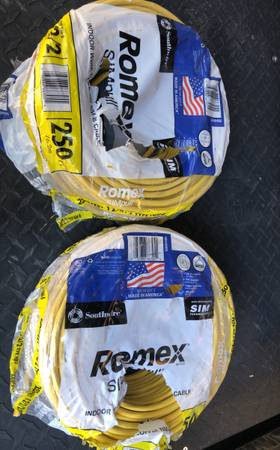 Photo Romex 1222 black, red, white, white with red strip and ground - $370 (Stockton)