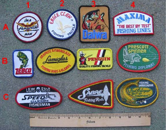 Photo Sew-On Patches from Various Fishing Equipment Manufacturers  (Windsor, California)