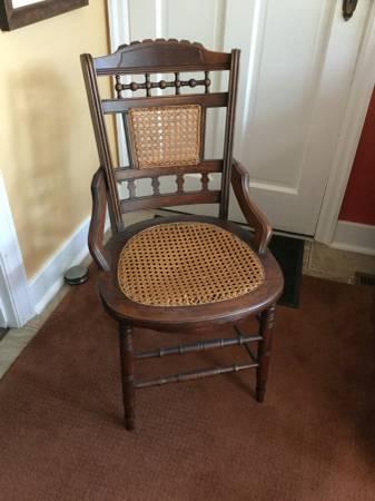 Photo Antique Eastlake Style Caned Back  Seat Bottom Dining Chair - $35 (STEVENSVILLE)