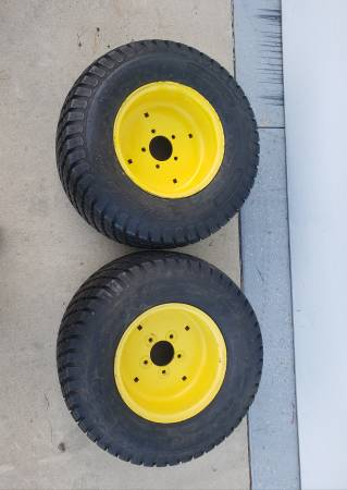 Photo John Deere JD 430 Tractor Mower Tires Rims Wheels 26x12-12 Offset - $175 (New Carlisle, IN)