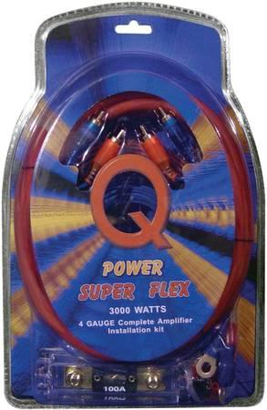 Photo New Car Stereo Audio Qpower Super Flex 4 Gauge 3000w Amp Wire kit - $35 (three rivers mi)