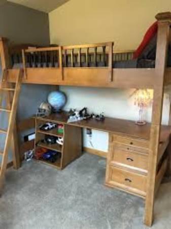 Bombay Twin loft bed  desk w shelves (mattress included) - $900 (Charleston)