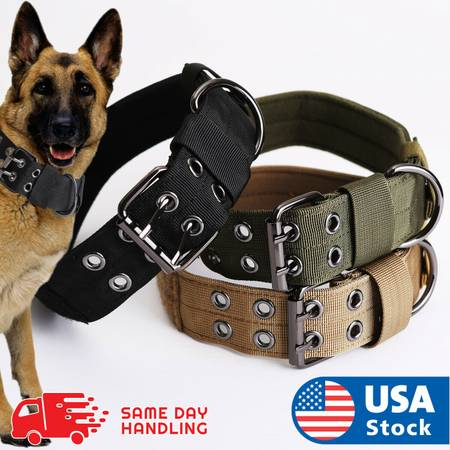 Photo Tactical heavy duty k9 dog collar military nylon dog collar with buckl - $24 (Union)