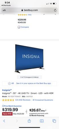 Photo 50 inch insignia smart tv 4K resolution. - $200 (Waynesville)