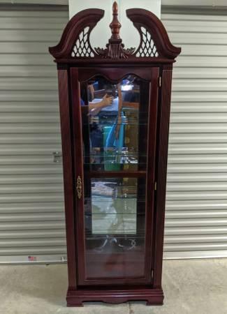 Photo 70quot Curio Display Cabinet Cherry, Mirrored, Glass Shelves, Pediment - $695 (Sylva)