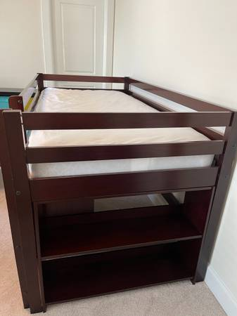 Photo Kids Twin Loft Bed with Desk, Chest of Drawers and Bookcase - $550 (Aldie)