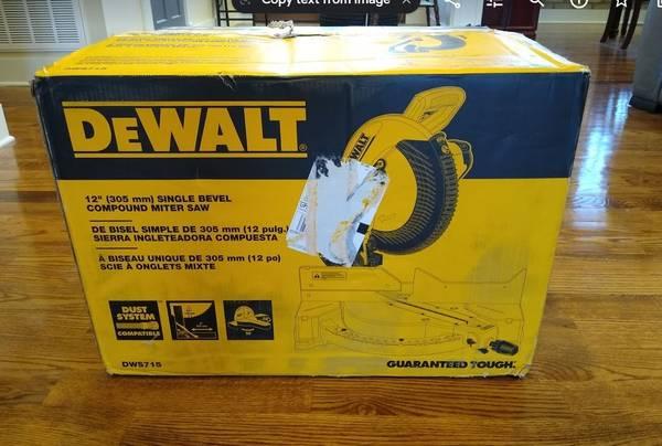 Photo New In Box Dewalt 12-in Compound Miter Saw - $195 (Wytheville Va)