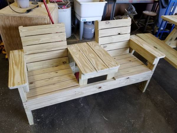 Photo two seat bench with table - $265 (Maiden)
