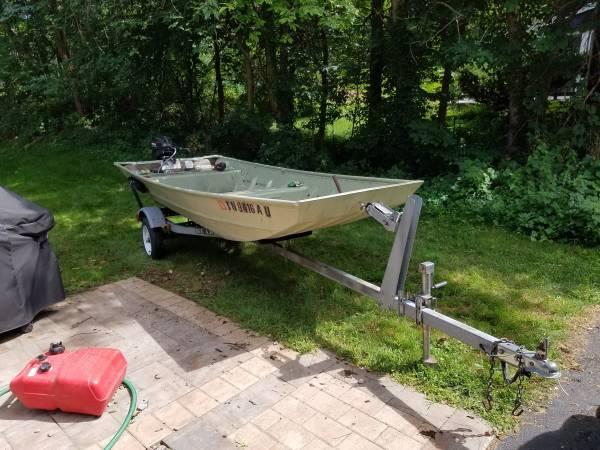 Photo 14 Ft. Aluminum John Boat  trailer, 15hp motor - $2,200 (Fayetteville)
