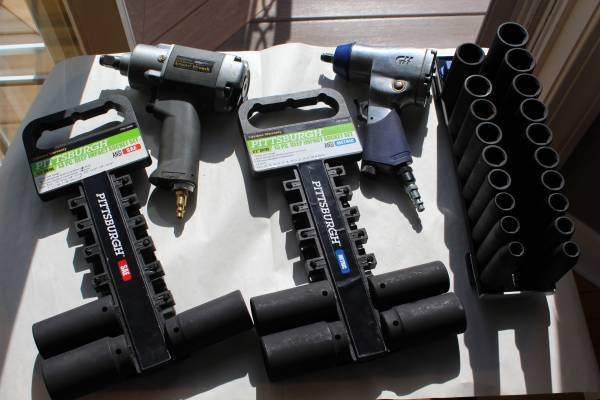 Photo 2 Pneumatic Impact Wrenches, 2 Deep Impact Socket Sets - $70 (camillus)
