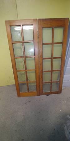 Photo 2 Tall Pine Cabinet Glass Doors - $60 (Syracuse)