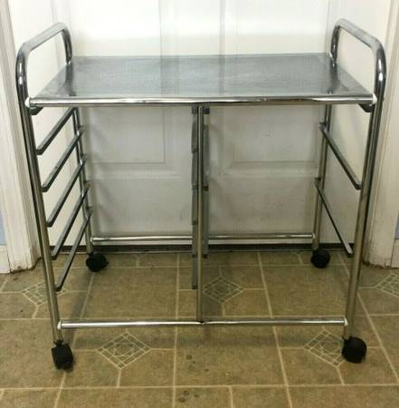 Photo Chrome Bar Cart Cocktail Trolley Serving tray - Mid Century Modernism - $40 (Syracuse)