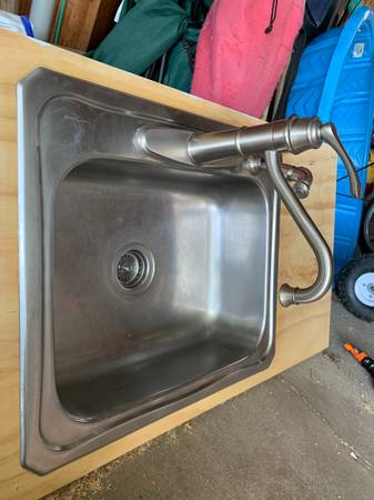 Photo Stainless steel kitchen sink with faucet - $50 (Brewerton)