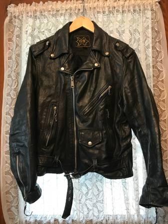 Photo Vintage ICS New York Black Leather Biker Jacket - $125 (Auburn)