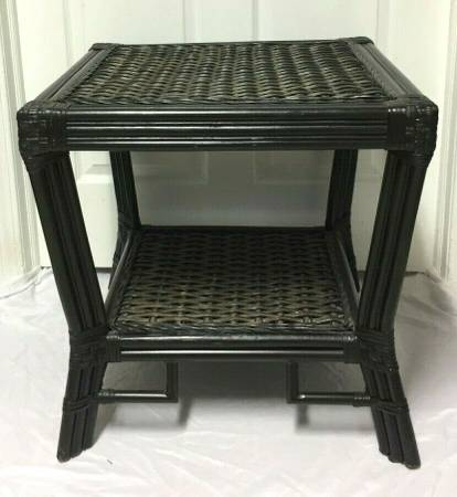 Photo Vintage Rattan Bamboo Wicker Square Coffee Accent End Table w Shelf - $80 (Syracuse)